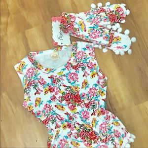 🌸Baby Girl Floral Romper & Matching Headband🌸